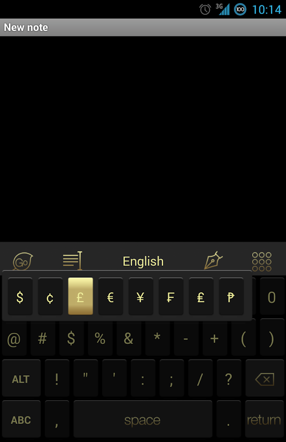 Go Keyboard 7 Gold Theme - screenshot