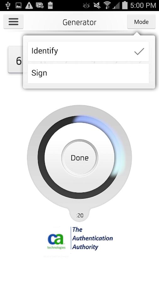 CA Mobile OTP - screenshot