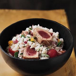 Sicilian Rice Salad with Seared Tuna.