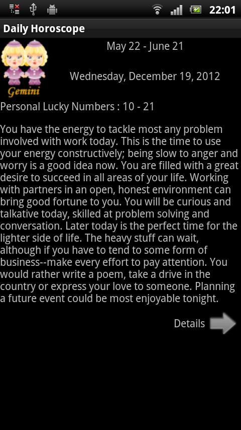 English Daily Horoscope - screenshot