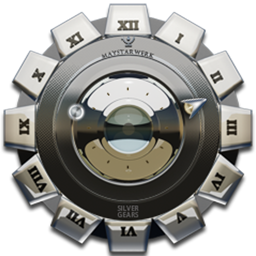 Clock Widget Silver Gear