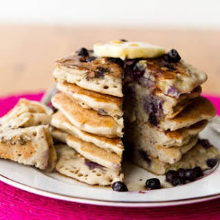 Vegan & Gluten-Free Vanilla Blueberry Buckwheat Pancakes.