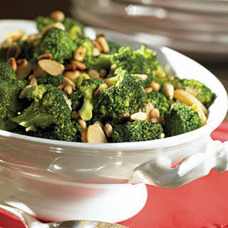 Broccoli with Caramelized Garlic and Pine Nuts.