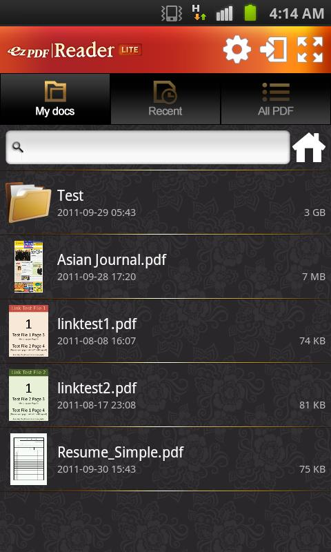 ezPDF Reader Lite for PDF View - screenshot