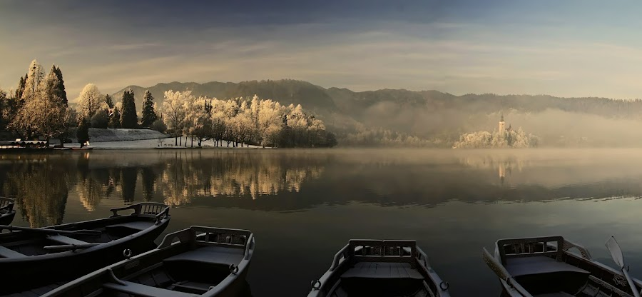 Cold morning at the lake by Jože Borišek - Landscapes Mountains & Hills ( bled-slovenia )