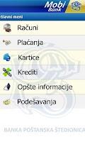 Screenshot of MobiBankPŠ-banka u telefonu