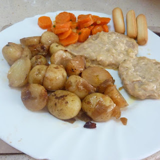 Pork in a lemon and mustard sauce with Campfire Potatoes