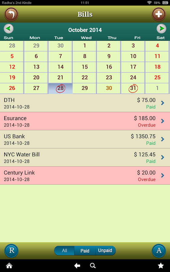 Bills Tracker for Android- screenshot