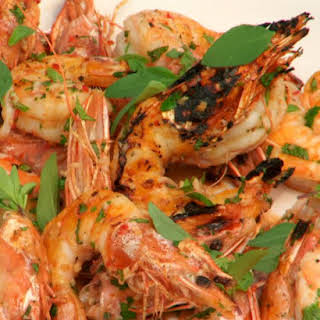 Southeast Asian-Style Grilled Shrimp with Aromatic Herbs.