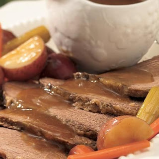 Slow-Cooker Beef Roast and Vegetables with Horseradish Gravy.