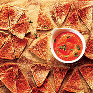 Homemade Pita Chips with Red Pepper Dip.
