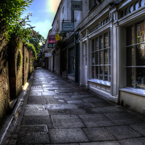 Bath Place  by Parker Lord - Buildings & Architecture Other Exteriors ( shop, somerset, lord parker photography, taunton, sunrise, wet, alley )