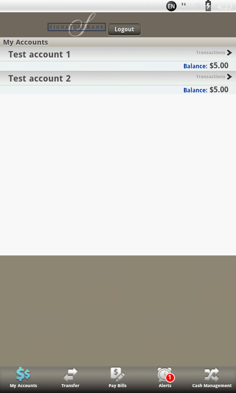 Signature Bank Mobile Banking - screenshot