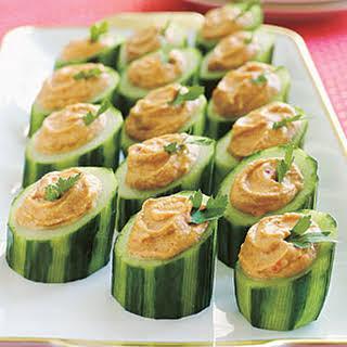 Red-Pepper Hummus in Cucumber Cups.