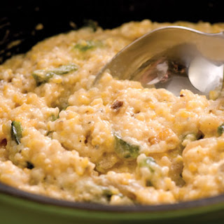 Horseradish Cheese Grits with Confetti of Roasted Poblano Peppers and Red Onions Recipe