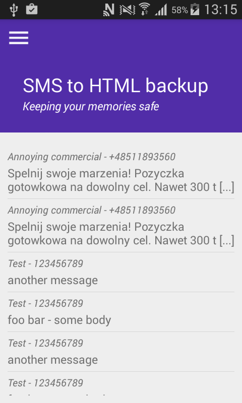 SMS to HTML backup exporter- screenshot