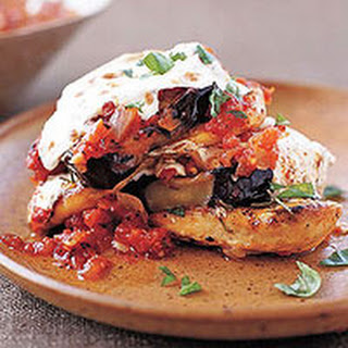 Grilled Chicken and Eggplant Stacks with Fire-Roasted Tomato Sauce.