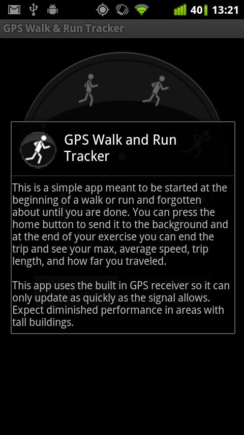GPS Walk and Run Tracker - screenshot