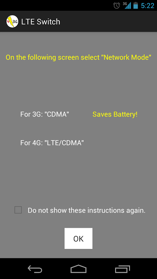 LTE Switch - Battery Saver - screenshot