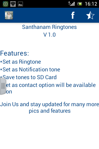 Santhanam Ringtones - screenshot