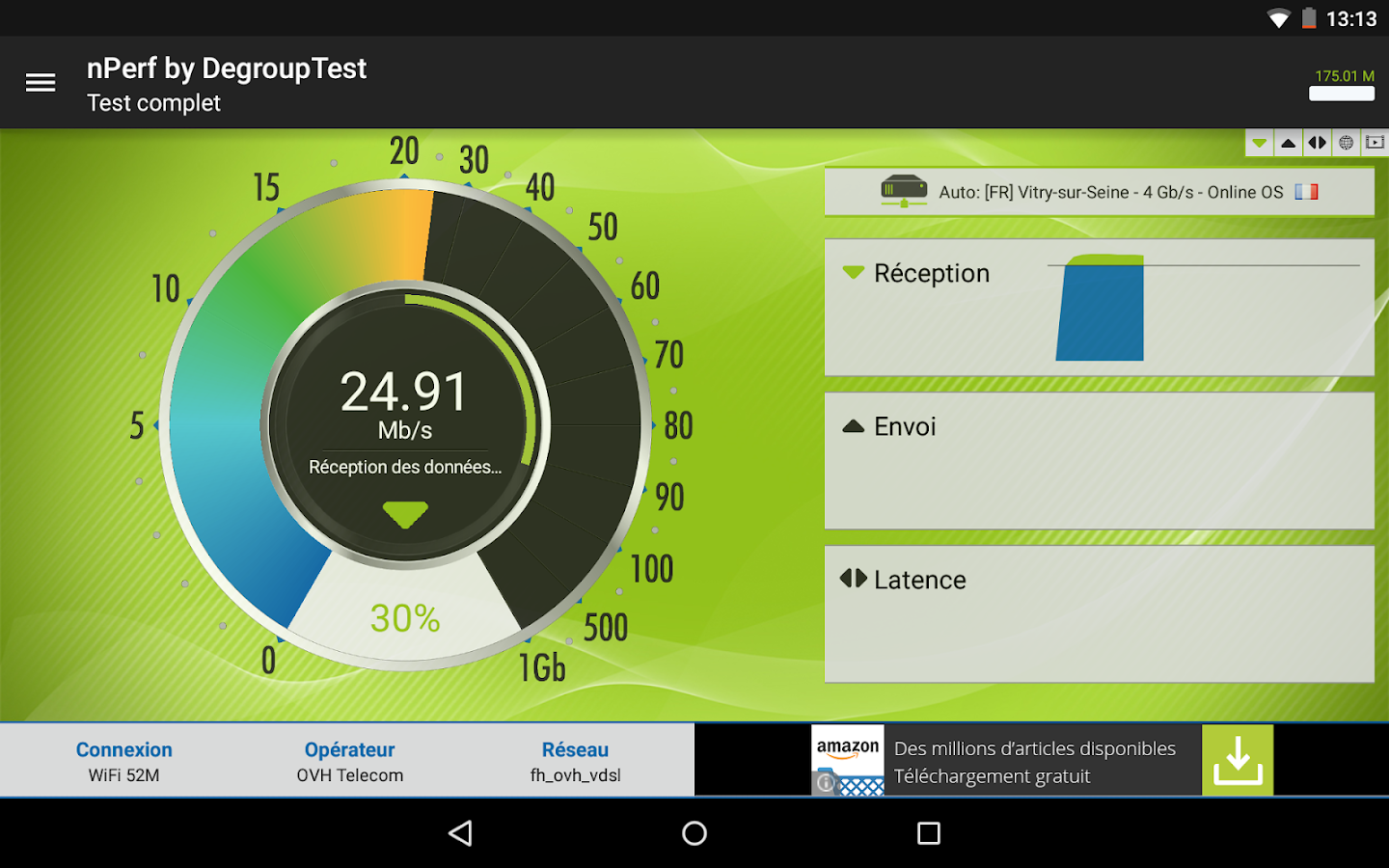 Speed Test Débit & QoS 4G WiFi – Capture d'écran