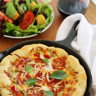 Easy Skillet Deep Dish Pizza.