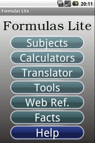 Formulas Lite - screenshot
