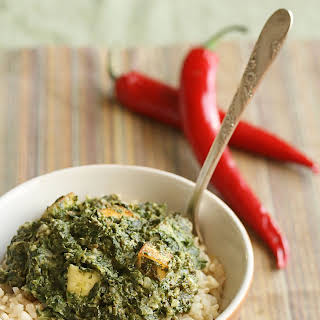 Saag Paneer (Curried Spinach with Cheese).